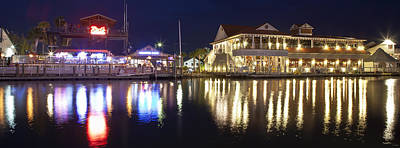Shem Creek By Night - Panoramic Poster by Donni Mac