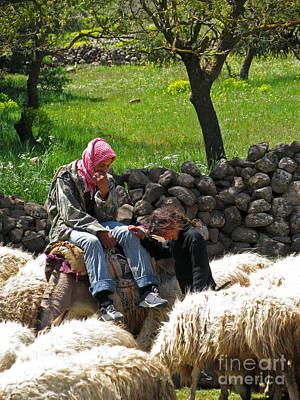 shepherds in Golan Poster by Issam Hajjar