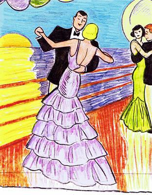 Shipboard Dancers Poster