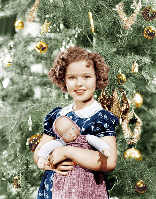 Shirley Temple Holding Doll Poster by Everett