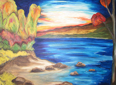 Poster featuring the painting Shores Of Maine by Cheryl Pettigrew
