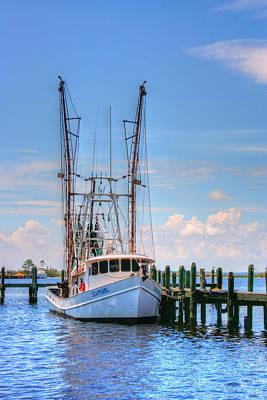 Shrimp Boat At Dock Poster by Barry Jones