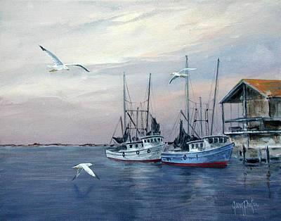 Shrimp Boats At Joe Patti's Poster