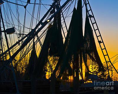 Shrimp Net Sunset Poster