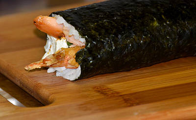 Shrimp Sushi Roll On Cutting Board Poster by Carolyn Marshall