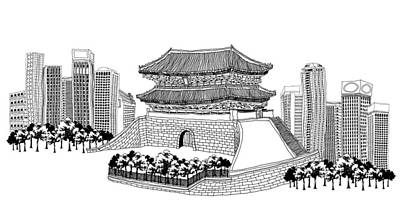 Side View Of Pagoda And Trees, Skyscrapers In Background Poster by Eastnine Inc.