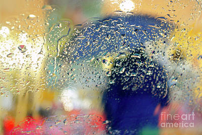 Silhouette In The Rain Poster by Carlos Caetano