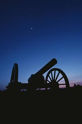 Silhouette Of A Civil War Era Cannon Poster by Kenneth Garrett