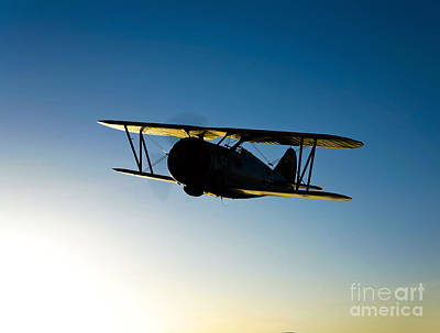 Silhouette Of A Grumman F3f Biplane Poster