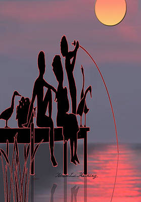 Silhouette Of The Dock Poster