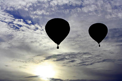 Silhouetted Hot Air Balloons Poster