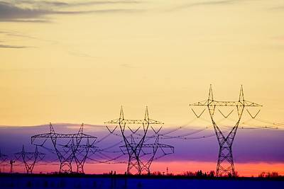 Silhouetted Transmission Towers Poster