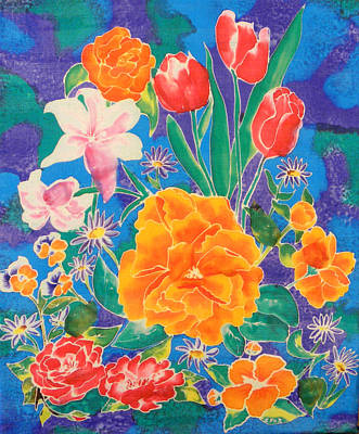 Silk Blooming Flowers Poster