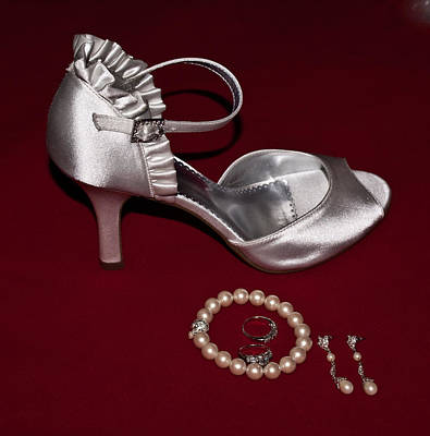 Silve Slipper And Pearls 1 Poster by Douglas Barnett