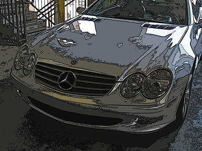 Silver Mercedes Benz Sl 500 Nose Study Poster