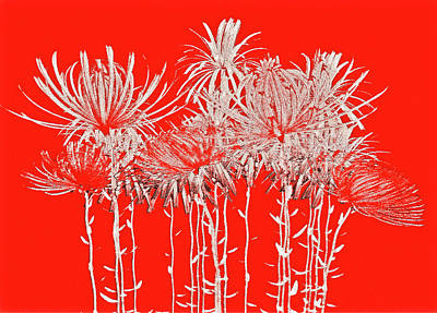 Silver Stems On Red Poster by James Mancini Heath