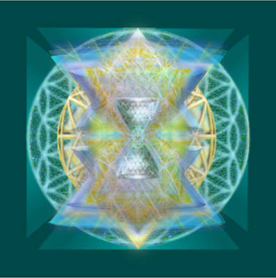 Silver Torquoise Chalice Matrix Subtly Lavender Lit On Gold N Blue N Green With Teal Poster