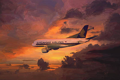 Poster featuring the painting Singapore Airlines A380 by Nop Briex