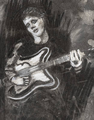 Poster featuring the drawing Singing Sad Songs by Denny Morreale