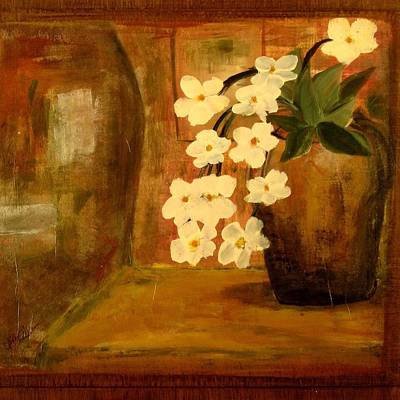 Poster featuring the painting Single Vase In Bloom by Kathy Sheeran