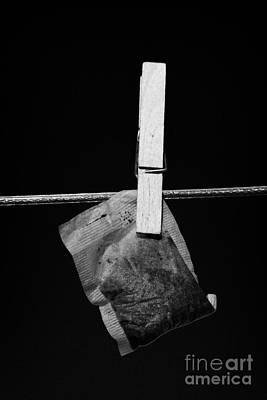 Single Wet Teabag Hanging On A Washing Line With Blue Sky Poster by Joe Fox