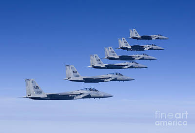 Six F-15 Eagles Fly In Formation Poster by HIGH-G Productions