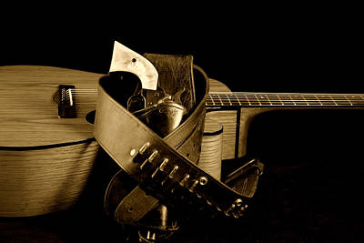 Six Gun In Holster And Guitar Poster