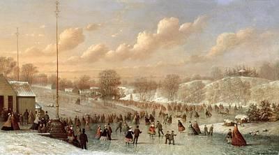 Skating Scene Poster by Johann Mongels Culverhouse