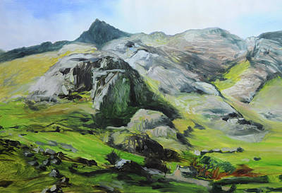 Sketch Of Mountains In Snowdonia Poster by Harry Robertson