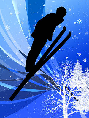 Ski Jumping In The Snow Poster by Elaine Plesser