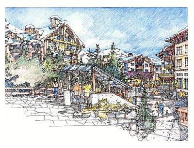 Poster featuring the drawing Ski Village by Andrew Drozdowicz
