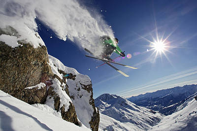 Skier In Midair On Snowy Mountain Poster by Michael Truelove