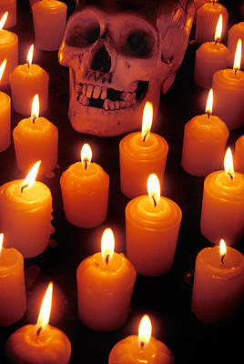 Skull And Candles Poster by Garry Gay