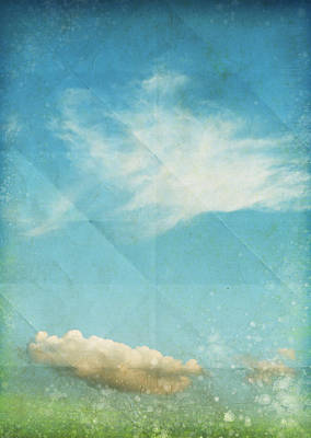 Sky And Cloud On Old Grunge Paper Poster