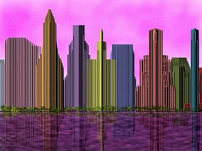 Skyline At Pink Sundown Poster by Yury Malkov
