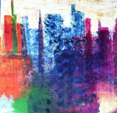 Poster featuring the painting Skyline by Kristine Bogdanovich