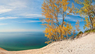 Sleeping Bear Dunes Vista 001 Poster by Larry Carr