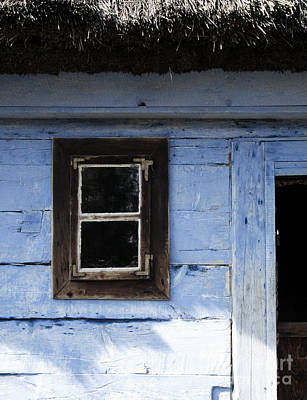 Poster featuring the photograph Small Window On Blue Wall by Agnieszka Kubica