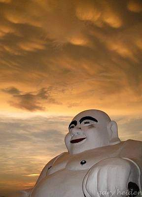 Smiling Fat Thai Buddha Under Mammocumulus Clouds Poster by Gary Heiden