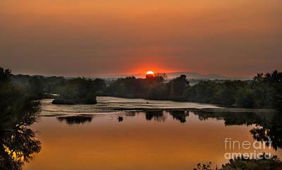 Smokey Sunset On The Payyett River Poster by Robert Bales
