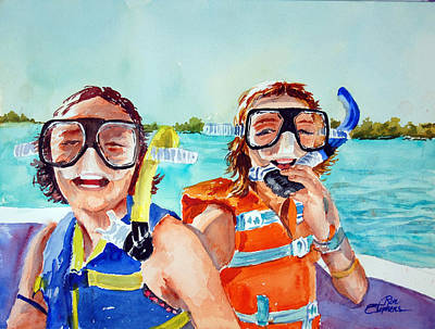 Poster featuring the painting Snorkel Girls by Ron Stephens