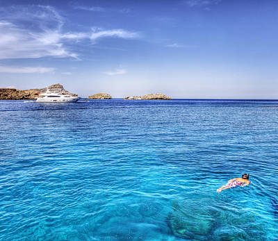 Snorkeling At Lindos Rhodes Poster by Mike Gorton