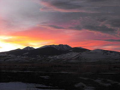 Snow Covered Mountain Sunset Poster
