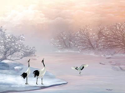 Poster featuring the digital art Snow Cranes by Thanh Thuy Nguyen