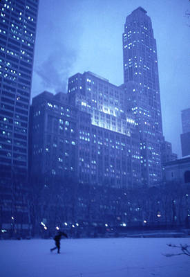 Snow Storm Bryant Park New York City Poster by Tom Wurl