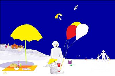 Poster featuring the digital art Snowman Family Holiday by Barbara Moignard