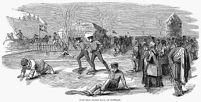 Snowshoeing, 1853 Poster
