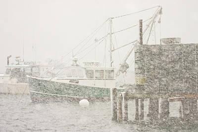 Snowstorm In Bass Harbor Mount Desert Island Maine Photograph Poster