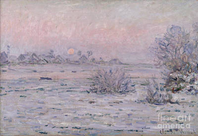 Snowy Landscape At Twilight Poster by Claude Monet