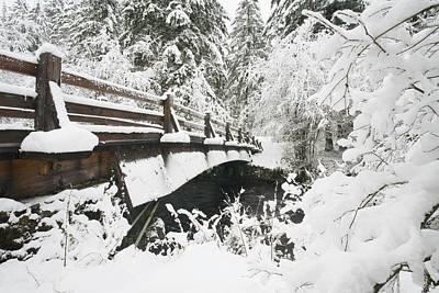 Snowy Pedestrian Bridge Through Forest Poster by Craig Tuttle